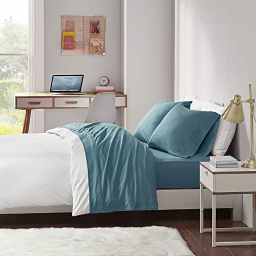 Cotton Blend Jersey Knit Queen Bed Sheets , Coastal Cotton Bed Sheet , Teal Bed Sheet Set 4-Piece Include Flat Sheet , Fitted Sheet & 2 Pillowcases