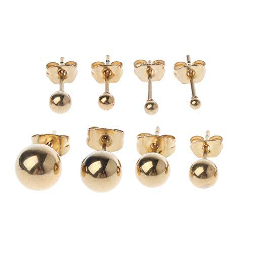MYhose 8 Piezas pequeños de Acero Inoxidable Redondo abalorio de Bolas Elegantes Pendientes de botón Set Ear Stud Gold