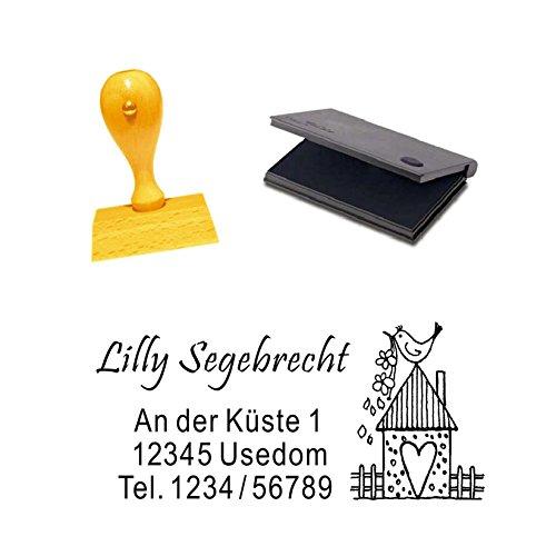 Holzstempel mit Adresse « VOGELHAUS » inkl. Stempelkissen - Abdruckgröße ca.: 5x3 cm