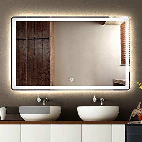 BAIHAO Espejo de baño de Montaje en Pared Espejo de tocador de baño de Doble Color Iluminado con LED Espejo Inteligente antiniebla e Interruptor táctil Luz de Espejo