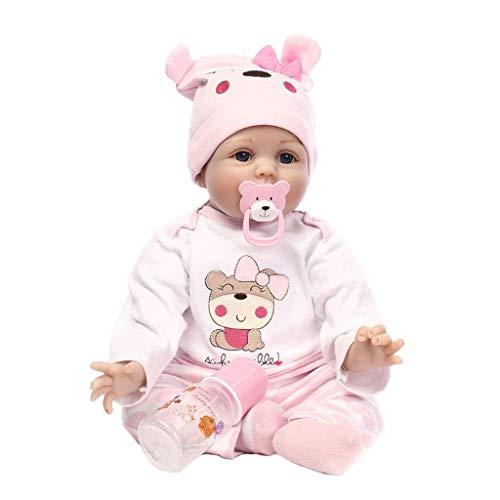 Xiuinserty 22 pulgadas / 55 cm muecas de lactancia realistas renacidos beb beb juguete completo de silicona para nios beb hecho a mano regalo