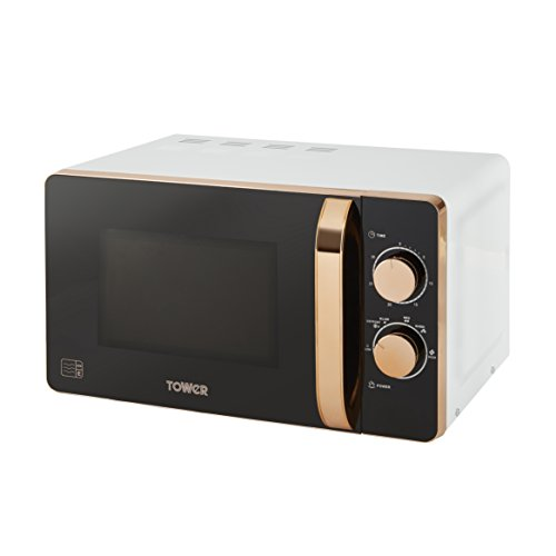 Tower T24020W Manual Solo Microwave with 6 Power Levels, 30 Minutes Timer, Defrost Function, 800 W, 20 Litre, White and Rose Gold