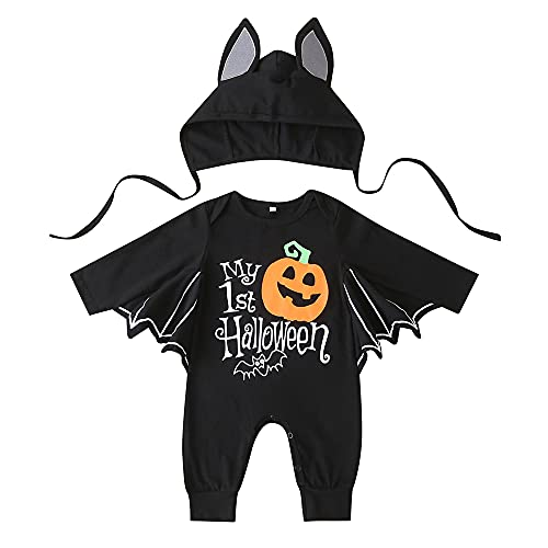 Pagliaccetto da Pipistrello Bambino Bambina Unisex Costume Halloween Carnevale Cosplay 2 Pezzi Tutina a Maniche Lunghe con Cappellino 0-24 Mesi(Halloween Pantaloni + Cappello, 12-18 Mesi)