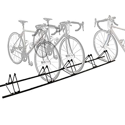 RELIANCER 5 Bike Floor Rack Sports Bicycle Storage Stand for 5 Bikes Cycling Floor Parking Rack Cycle Holder Storage Organizer Wheel Holder for Mountain and Road Bike Indoor Outdoor Home Garage