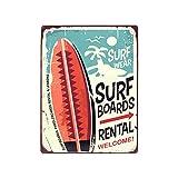 Placa de Pared Decorativa Colgante de Metal Alquiler Tablas Surf. Cuadros y Apliques. Regalos Originales. Decoración para el Hogar. 25 x 0,10 x 33 cm
