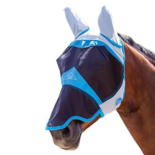 Shires Air Motion Fliegenmaske mit Ohren und Nase in Blau, UV Pony, Blau
