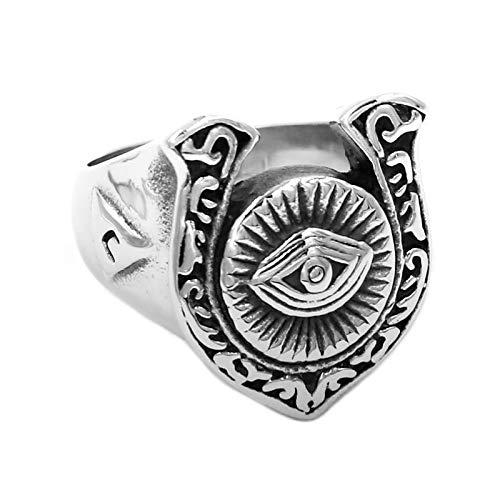 Illuminati Pyramid Eye Symbol U-Shaped Horseshoe Ring Stainless Steel Silver Color Masonic Biker Men Ring Size 11