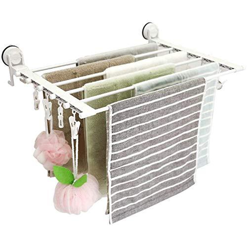 MYPNB Tendedero Estante de Secado Colgante Estante de Secado Plegable y Estirable Baño Balcón Succión Adhesiva Estante de Secado de lavandería con 8 Clips a Prueba de Viento