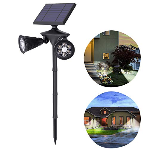 Luz Solar Exterior Jardín 12 LED Foco Solar con Sensor de Movimiento Impermeable Lámparas Solares Apliques de pared 2 Modos para Jardín Patio Césped Terraza Calzada