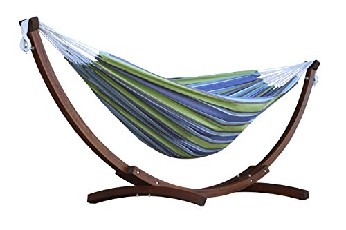 Vivere Double Cotton Hammock with Solid Pine Arc Stand