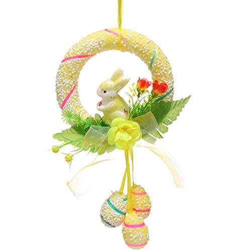 Türkranz Wandkranz Kranz - Niedliches Kaninchen Hängendes Ornament für Osterdekoration Anhänger Dekoration - Handarbeit Garland Deko-Kranz, für Hochzeit, Party, Garten, Wanddekoration