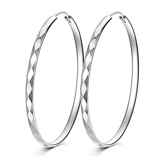 925 Sterling Zilver Oorringen Veer Sluiting Diamant Stijl Cirkel Eindeloze Oorbellen 40mm 50mm