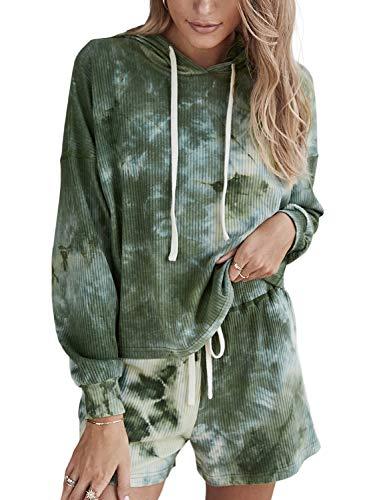 Doublju Womens Long Sleeve Hoodie Tie Dye Nightwear Pajamas Set Sleep amp Lounge Set Green XLarge