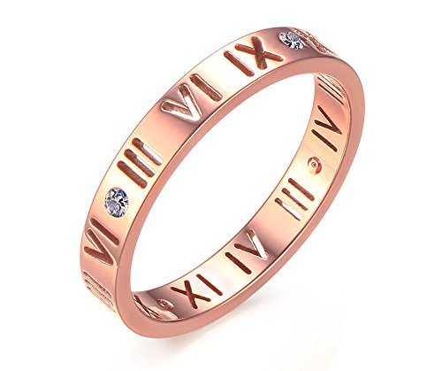 Stainless Steel CZ Roman Numeral Ring for Women Girls,Rose Gold Plated,Size 6