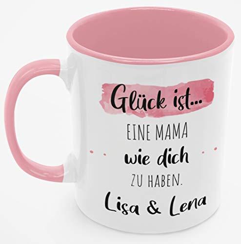 Personalisierte Kaffee-Tasse (Glück ist...) mit eigenen Wunschname. Für die Beste Mama Tasse. Schönes Geschenk oder kleine Aufmerksamkeit   Muttertag, Hochzeit (Beste Mama #2, Rosa/Rosa)