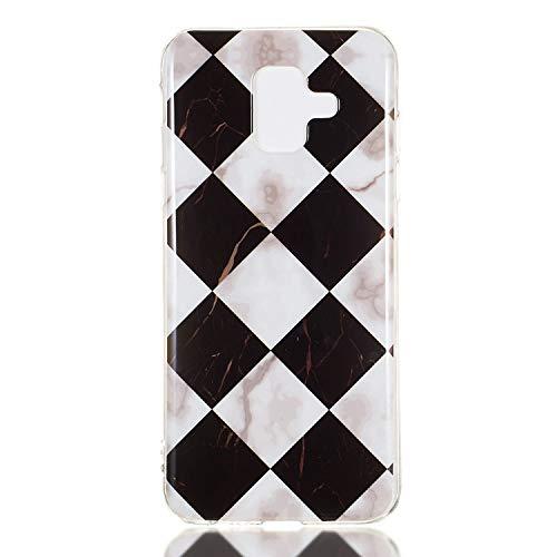 Souple Étui en Silicone Ultra Mince Housse Mignon Doux TPU Gel Caoutchouc de protection Bumper[Très Légère]Etui Bling Glitter Sparkles Dessin Marble Coque Cover pour Samsung A6 2018