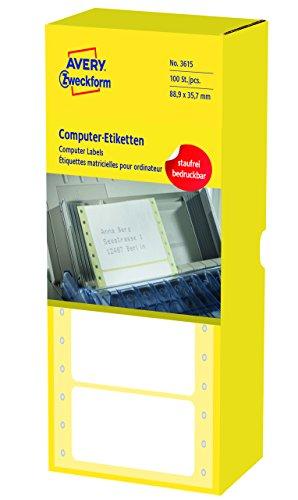 AVERY Zweckform 3615 Computer-Etiketten (Papier matt, 4,000 Etiketten, 88,9 x 35,7 mm) 1 Pack weiß