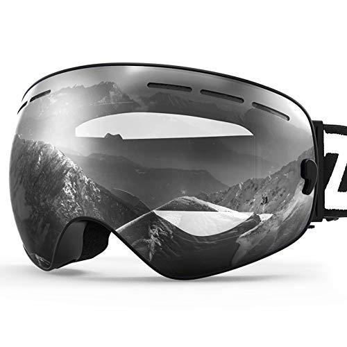 ZIONOR X Ski Snowboard Snow Goggles OTG Design for Men Women Adult with Spherical Detachable Lens UV Protection Anti-Fog (VLT 94% Black Frame Clear Lens)