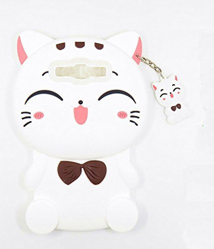 Samsung Galaxy S7 Edge Case, Maoerdo Cute 3D Cartoon White Plutus Cat Lucky Fortune Cat Kitty with Bow Tie Silicone Rubber Phone Case Cover for Samsung Galaxy S7 Edge