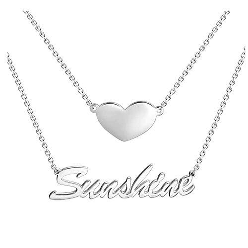 Soufeel Namenskette mit Herz Anhänger Personalisierte Namen Halskette 925 Sterling Silber Mutter, Freundin