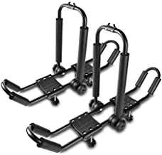 Car Rack & Carriers 3 in 1 Universal Kayak Carrier Car Roof Rack J-Shape Fordable Racks for Canoe, SUP and Kayaks Mounted on Your SUV Car Crossbar