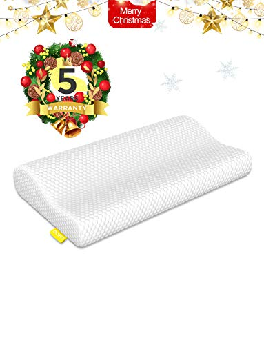 OOFO Memory Foam Pillow Adjustable Cervical Bed Pillow Cover for Neck Pain Contour Pillow for Sleeping