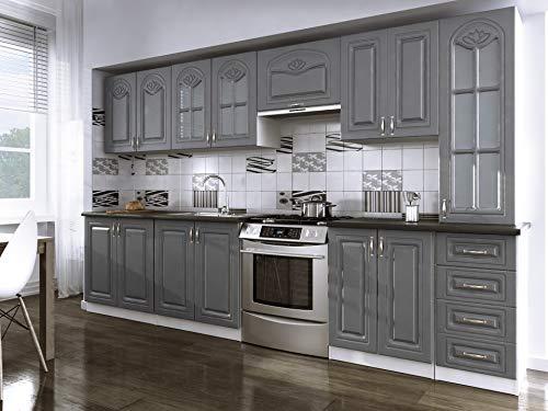 Tendencio Cuisine complète 320 cm Dina Grise avec moulures Style Moderne et Contemporain