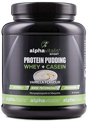 High Protein Pudding Creme 500g - Whey + Casein - Hoher Proteingehalt - Low Carb Pudding - Zuckerarm + Fettarm - Muskelaufbau und Diät - Geschmack: Vanille