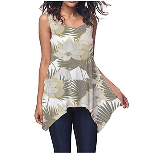 Camiseta sin mangas para mujer, sin mangas, estilo informal, con estampado irregular, cuello redondo, blusa básica
