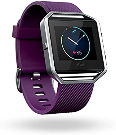 Fitbit Blaze Smart Fitness Watch, Plum, Silver, Large...
