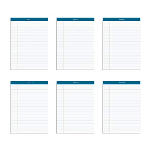 TOPS Docket Writing Tablet, 8-1/2 x 11-3/4 Inches, Perforated, White, Legal/Wide Rule, 50 Sheets per Pad, 6 Pads per Pack (63416)