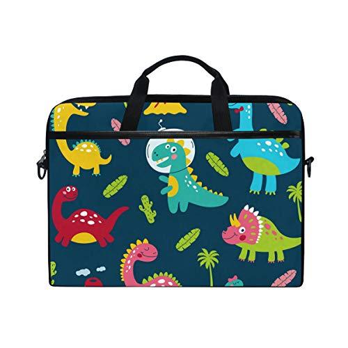 Ahomy 14-14,5 Zoll Laptoptasche, niedliche Cartoon-Dinosaurier, tropische Kaktusbäume, Vulkan, multifunktionaler Stoff, wasserdichte Laptoptasche mit Schultergurt