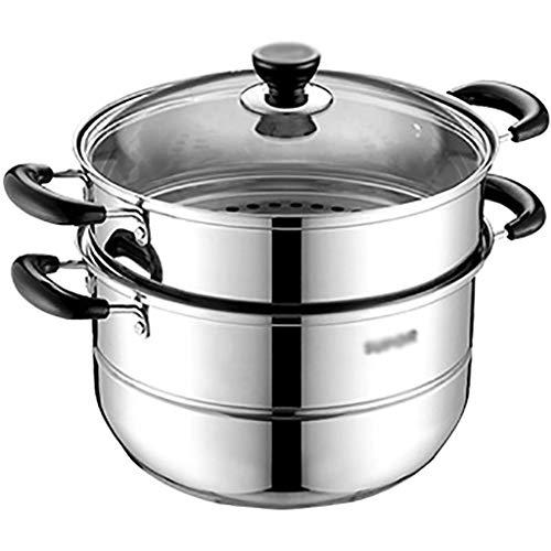 Cookware 26cm im Durchmesser Suppentopf, große Kapazität Multifunktionale Kochgeschirr Oyster Gemüse Dampfer mit ausgeglichenem Glasdeckel (Size : 27 * 27 * 38.5CM)