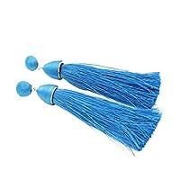 レディースフリンジドロップイヤリングのためのエレガントなロングタッセルブラブライヤリング - 青