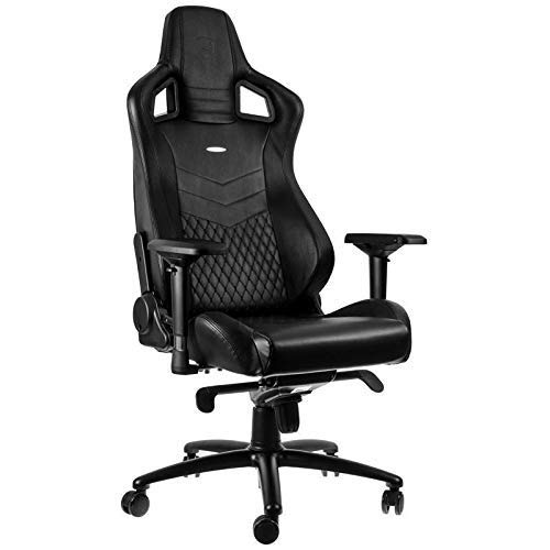 noblechairs Epic Gaming Chair - Office Chair - Desk Chair - Real Leather -265 lbs - 135° Reclinable - Lumbar Support Cushion - Racing Seat Design - Black