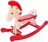 Ccgdgft Schaukelpferd Kinder Dual-Purpose Trojan-Baby-Spielzeug Schaukelautoschaukelstuhl Massivholz-Geschenk Schutzzaun, abnehmbare, Heightened Rücken Lostgaming