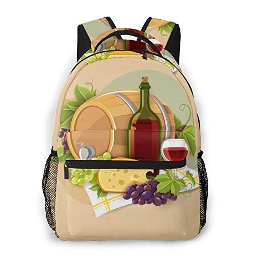 Lawenp Mochila Unisex de Moda Mochila de póster de Vino y Queso Mochila Ligera para portátil para Viajes Escolares Acampar al Aire Libre