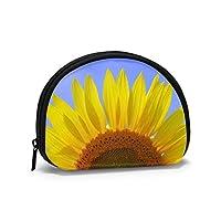 小銭入れ コインケース ミニ財布 コンパクト 財布 夏の青空とひまわりの花のアップ ファスナー カード入れ 手持ち 薄型 収納ポーチ ガールズ メンズ レディース