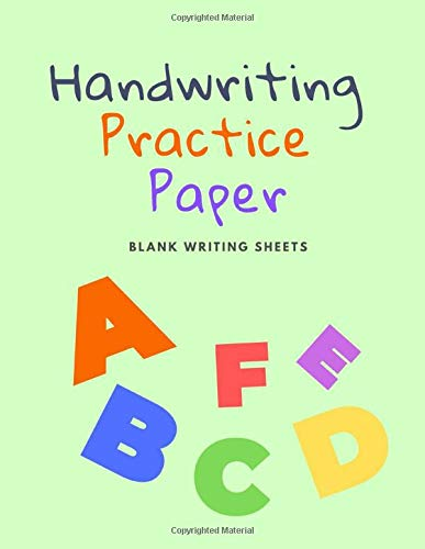Handwriting Practice Paper: Blank Writing Sheets Notebook for Preschool and Kindergarten Kids, 8.5x11 inches , 100 pages no.20