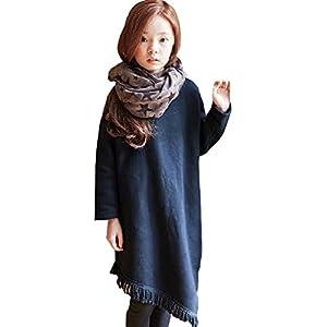 hipa hipa 長袖 無地 黒 ワンピース 裾のフリンジ がカワイイ フリル カットソー キッズ 服 ガールズ トップス アウター シンプル 女の子(110cm)