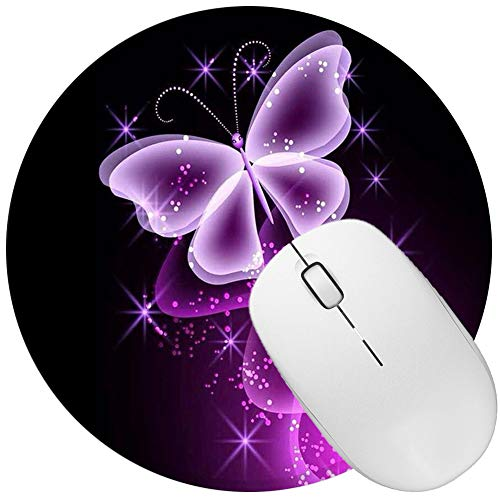 Non Slip Rubber Mouse Pad Beautiful Pattern Desktop 7.9in X7.9in Small Size Computer PC Round Mouse Mat (Purple Butterfly)