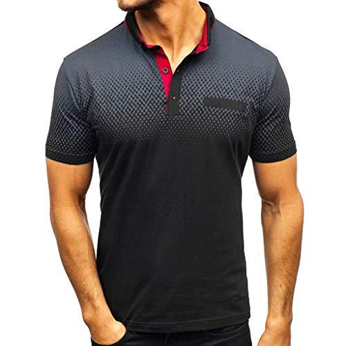 Camisa para Hombre Manga Corta con Estampado Degradado Casual Deportiva Gimnasio Camiseta Cuello Redondo Básica Blusa Moda Slim Fit Top riou
