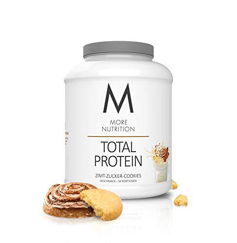 MORE NUTRITION Total Protein (1 x 1500 g) - Whey Eiweißpulver mit Casein, Aminosäuren und Laktase für Muskelaufbau (Zimt Zucker Cookies)