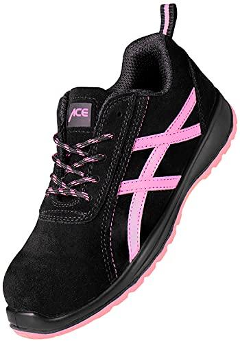 ACE Aurora S1-Arbeits-Sneakers für Damen - mit Stahlkappe - Sicherheits-Schuhe für die Arbeit - Schwarz/Pink - 38