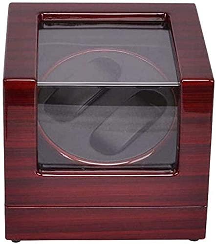 PLMOKN JJDSN - Bobinadora de reloj, 2 lacas de piano, enrolladores de reloj para reloj automático, silencioso, caja de relojes, caja de reloj, almacenamiento de exhibición, color rojo