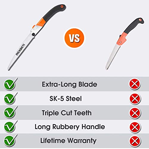 Folding Saw, Heavy Duty Extra Long Blade Hand Saw for Wood Camping, Dry Wood Pruning Saw With Hard Teeth By REXBETI, Quality SK-5 Steel
