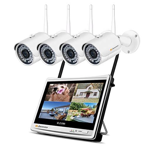 Jennov 8CH Überwachungskamera Set,3MP HD NVR WLAN Überwachungssystem mit 4 x Sicherheitskamera 12 Zoll LCD Monitor Bewegungsmelder 1TB Festplatte AudioAufnahme für Außen Innen