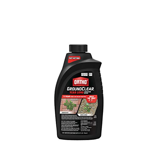 Ortho GroundClear Year Long Vegetation Killer1 - Concentrate, Visible Results in 3 Hours, Kills Weeds and Grasses to the Root When Used as Directed, Up to 1 Year of Weed and Grass Control, 32 oz.