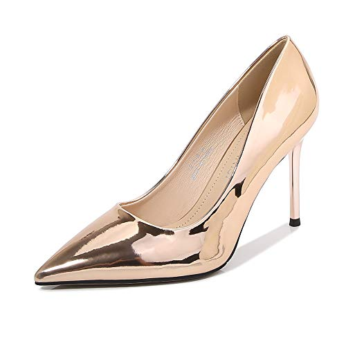 Tacones altos Metálico Meseta Plataforma Bomba Sexy Puntiagudo Estilete Zapatos de mujer elegante Oficina Ocasiones formales Zapatos de la Corte Vestidos Talla grande Zapatillas- champagne gold||39