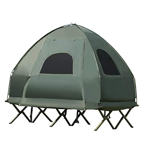 Double Tent Bed, Portable Camping Tent with Air Mattress and Pillow, Folding Camping Cot of Metal Frame, Double Sleep Bag with Polyester Canopy, for Outdoor Family Camping Picnic - Military Green